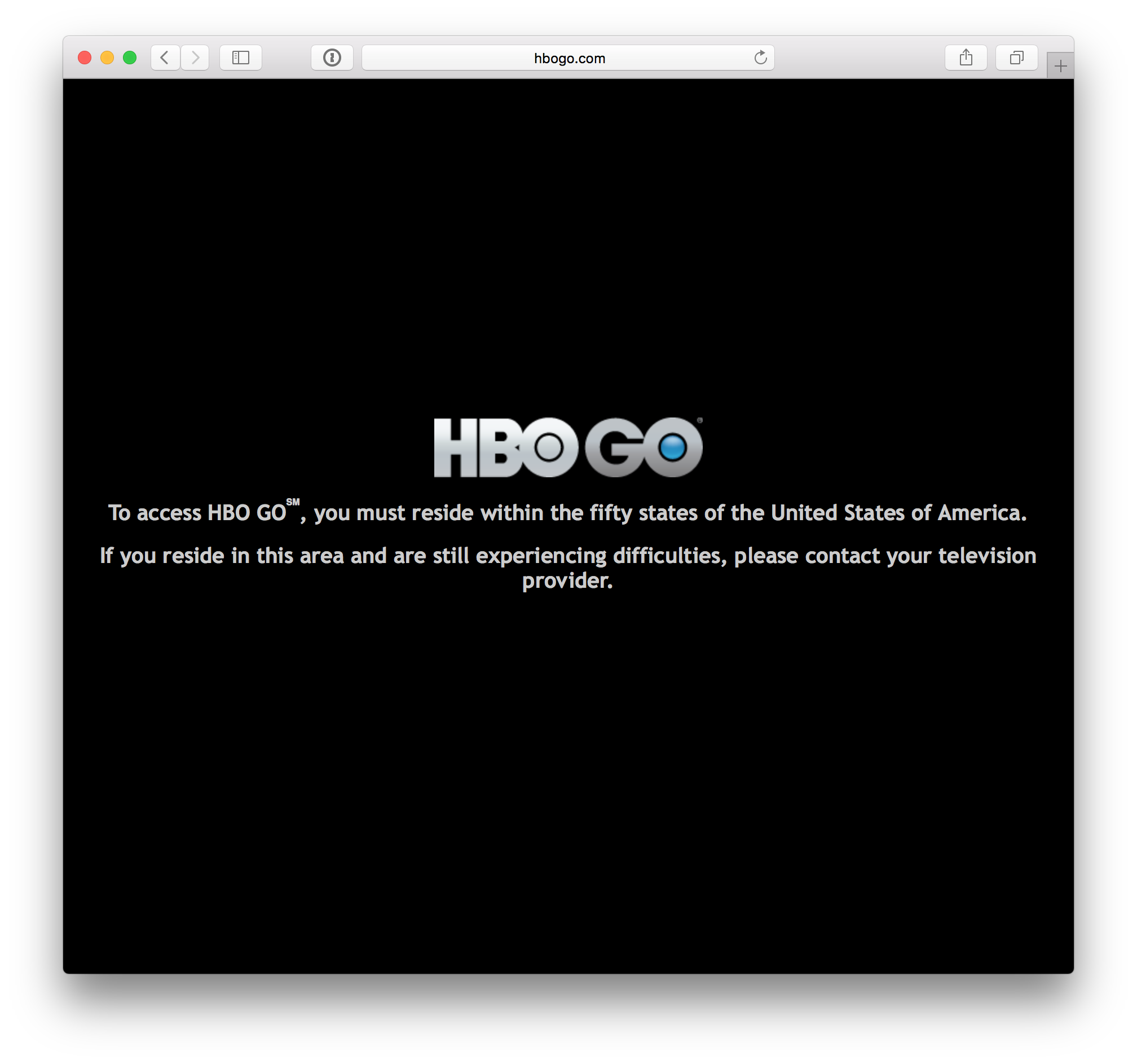 HBO Website, Geo-Blocked