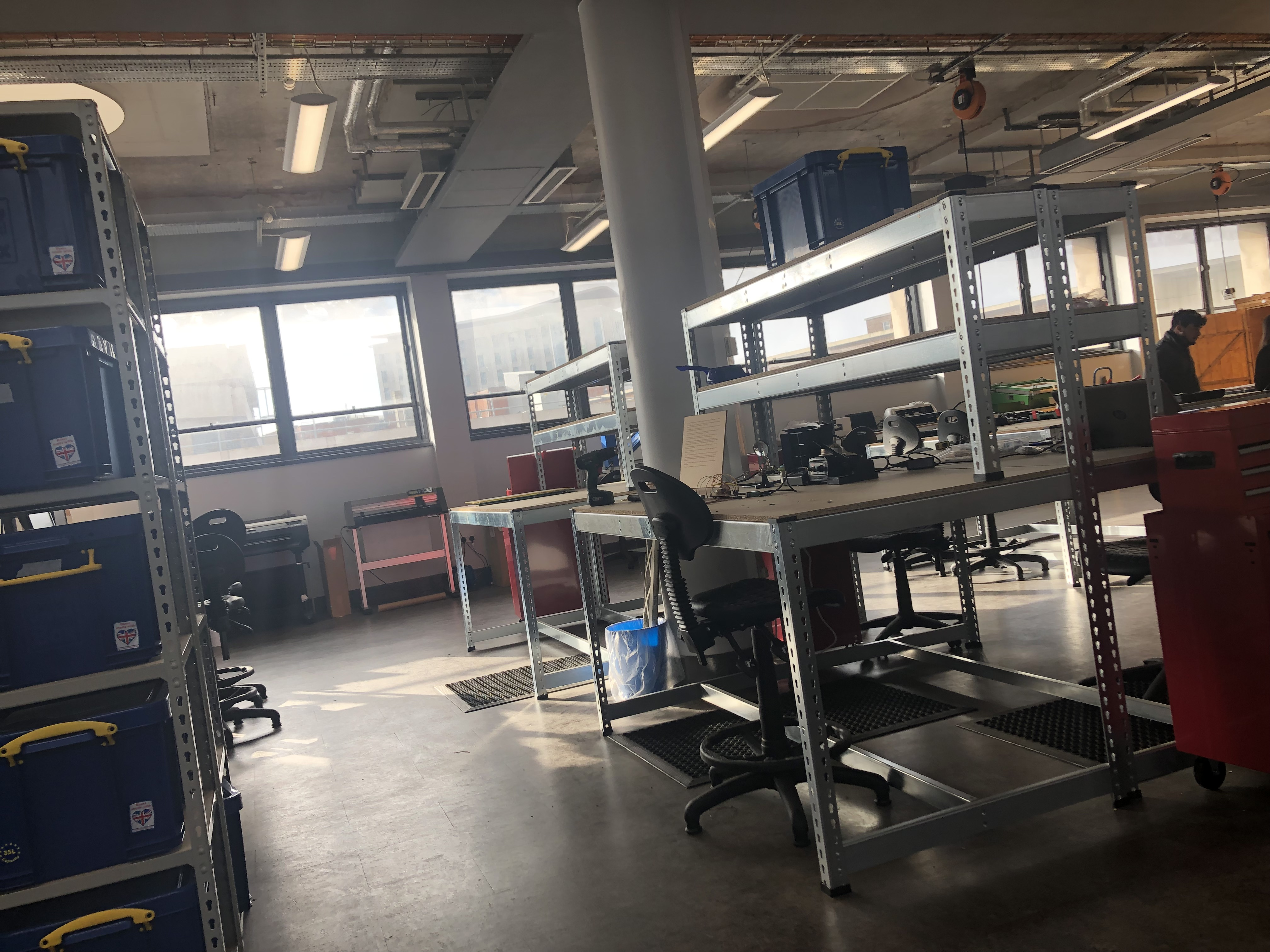 A view of the storage area and electronics area at the Makerspace